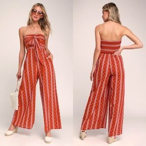 NWT Lulus Raine Washed Red Print Strapless Jumpsui